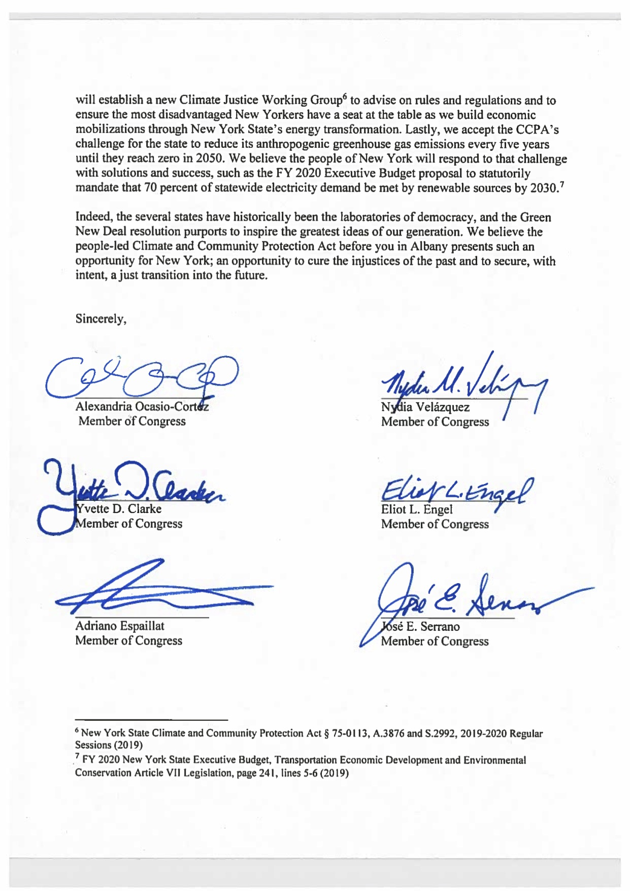 Congressional Letter — NY Renews