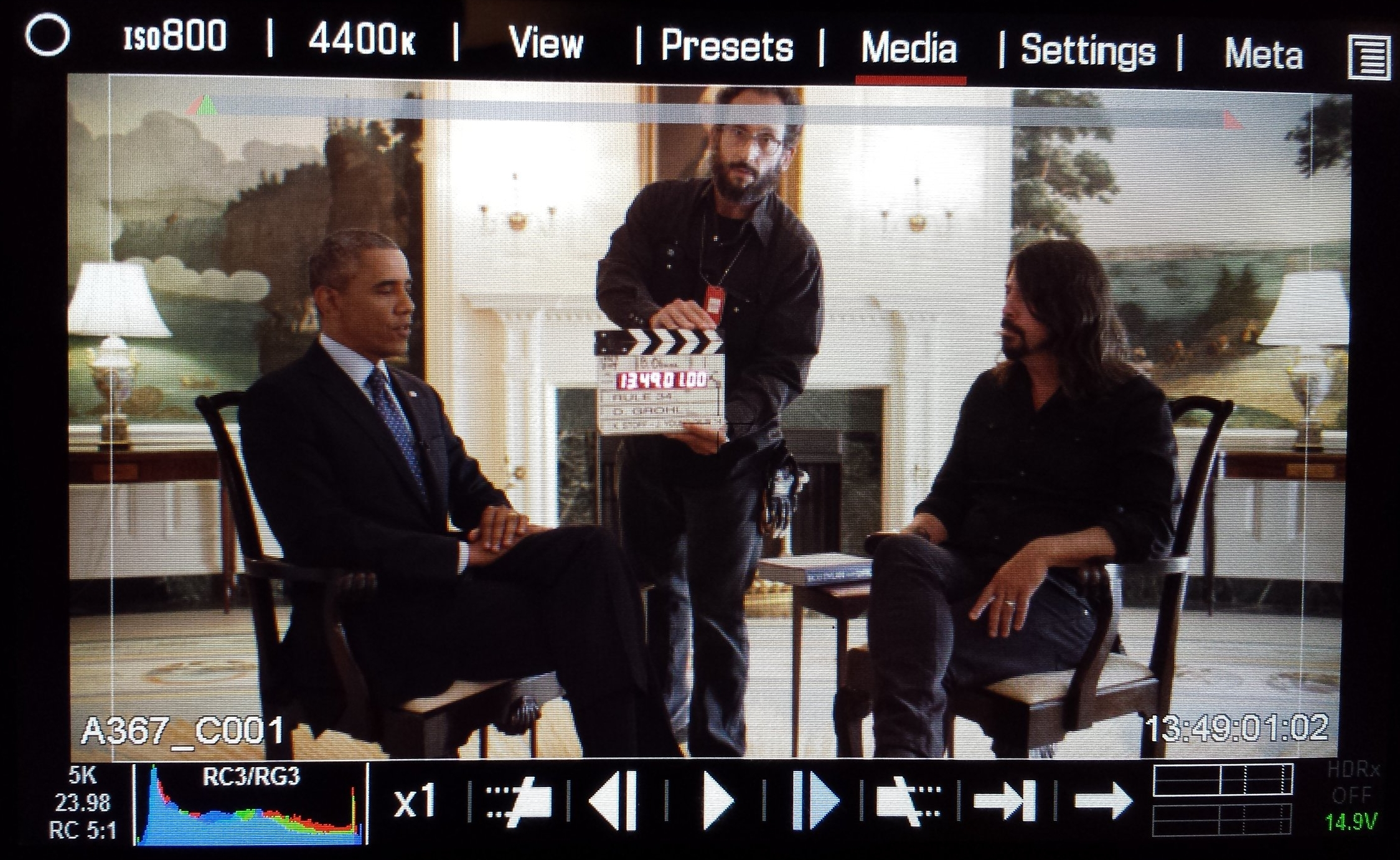 On location in the White House with Barack Obama and Dave Grohl for Sonic Hiways
