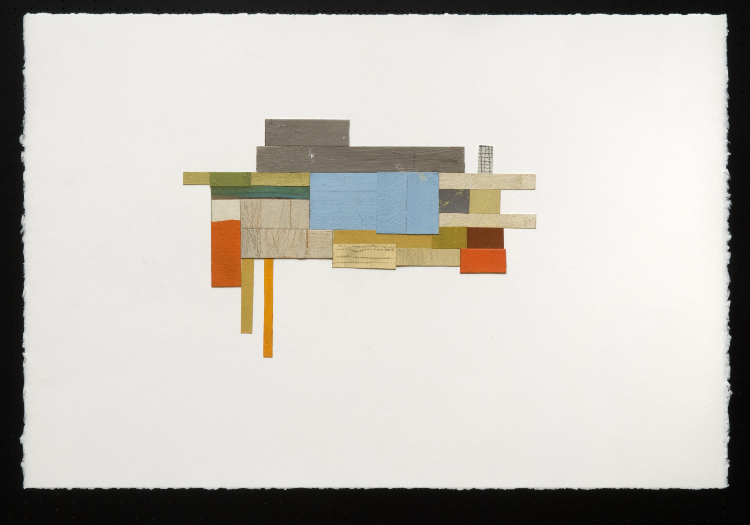 "Structure 1, acrylic/collage/graphite on paper, 15 x 22"" - SOLD"