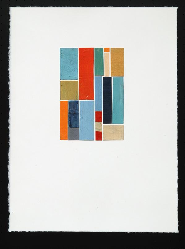 "Orange 1, acrylic/collage on paper, 15"" x 11"""