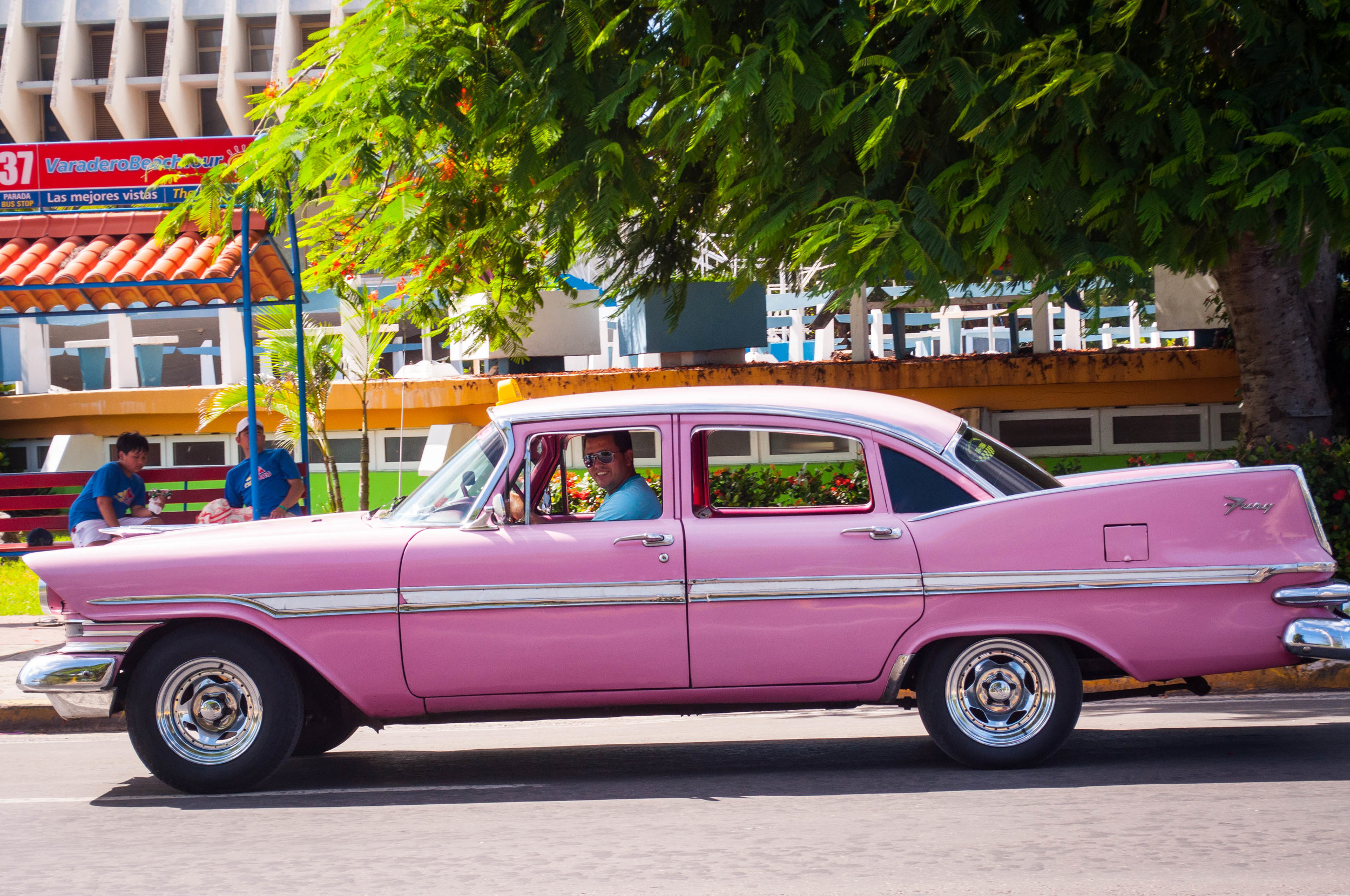 Pink vintage cars in the streets of La Havana seen during our day trip