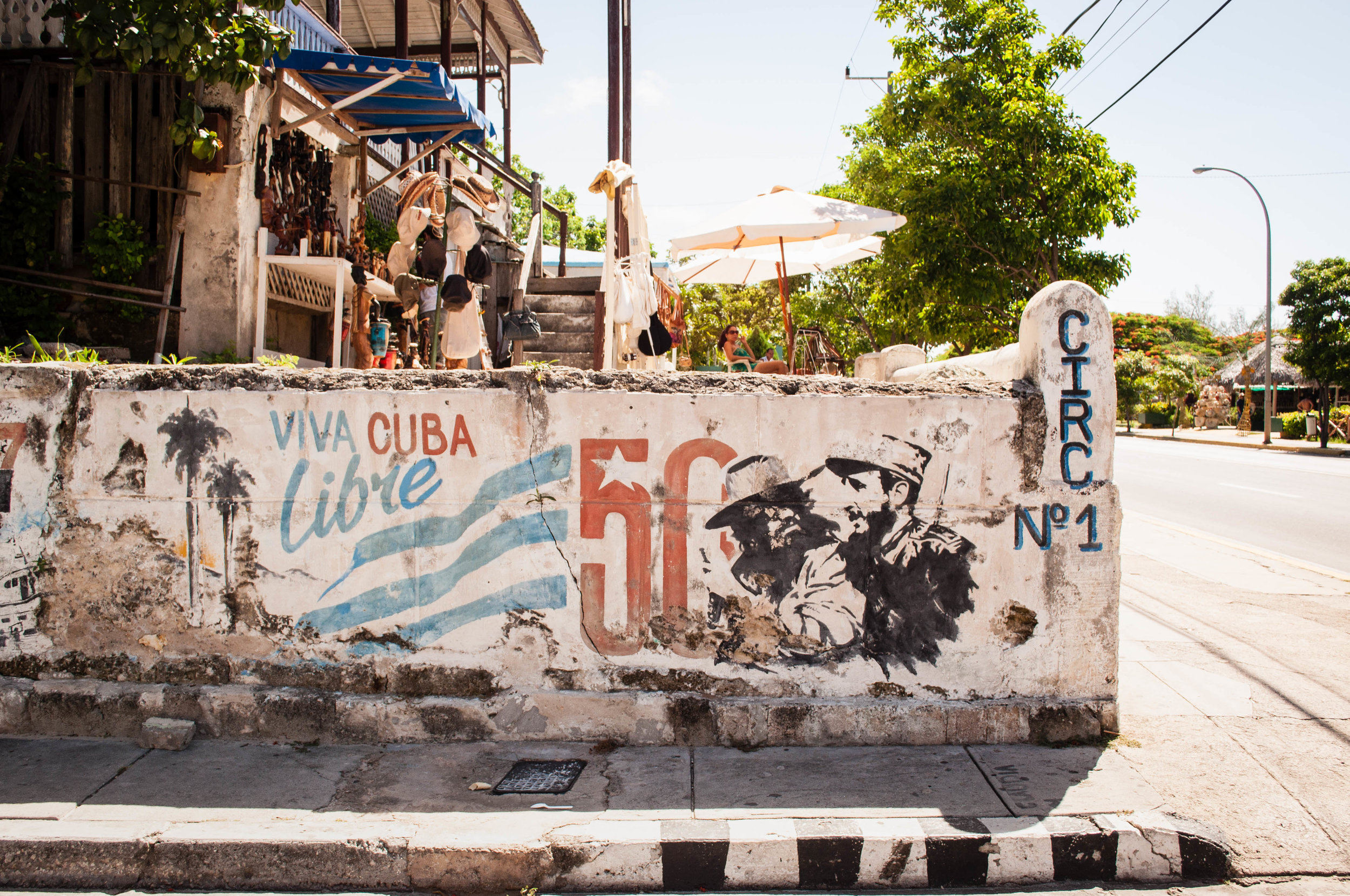 Decaying mural with el Che & Castro on a wall conveying a communist, revolution message on a house mural. Scene seeing during our day trip to La Havana
