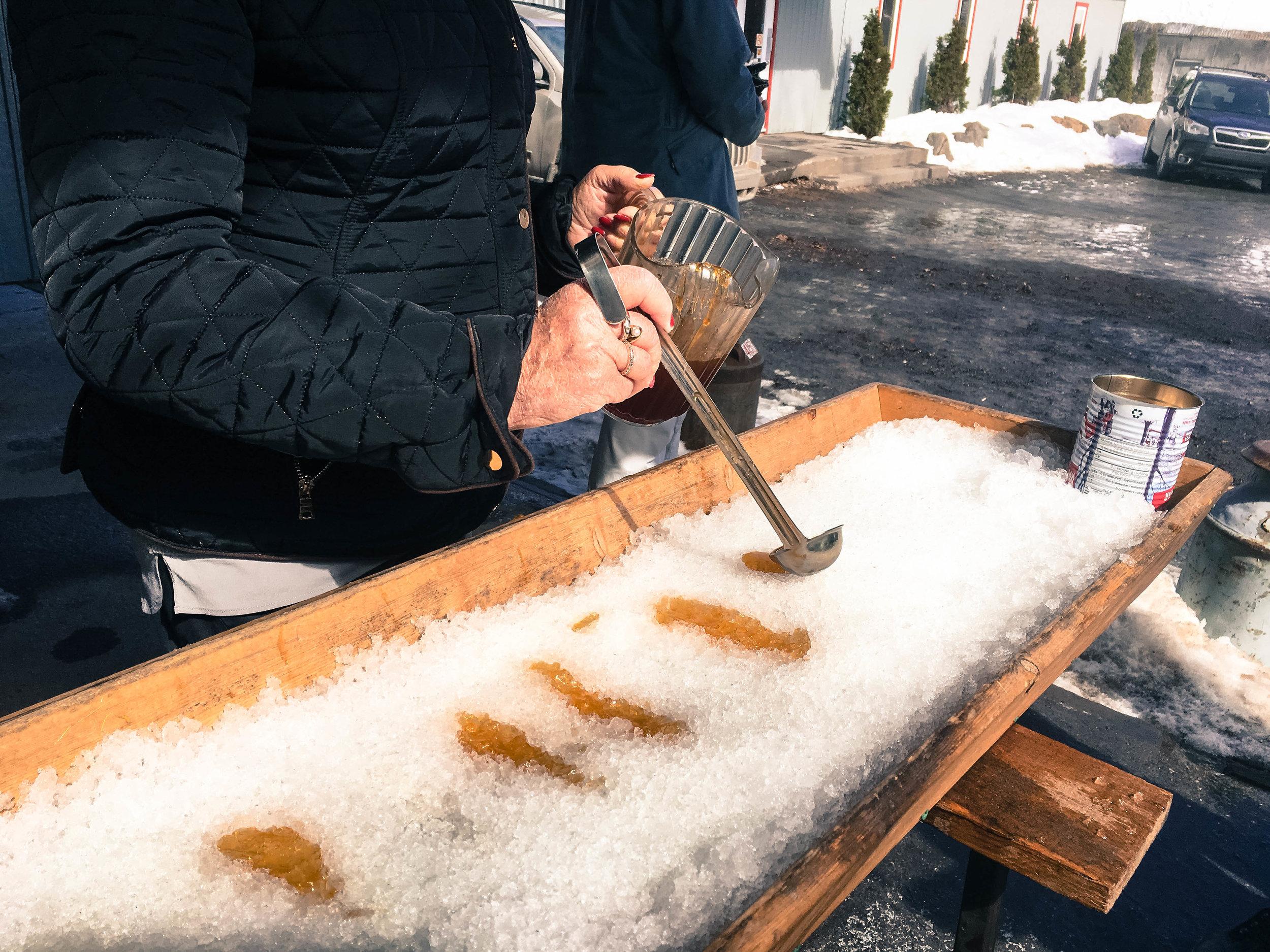 Maple taffy or Tire sur neige in a Cabane à sucre