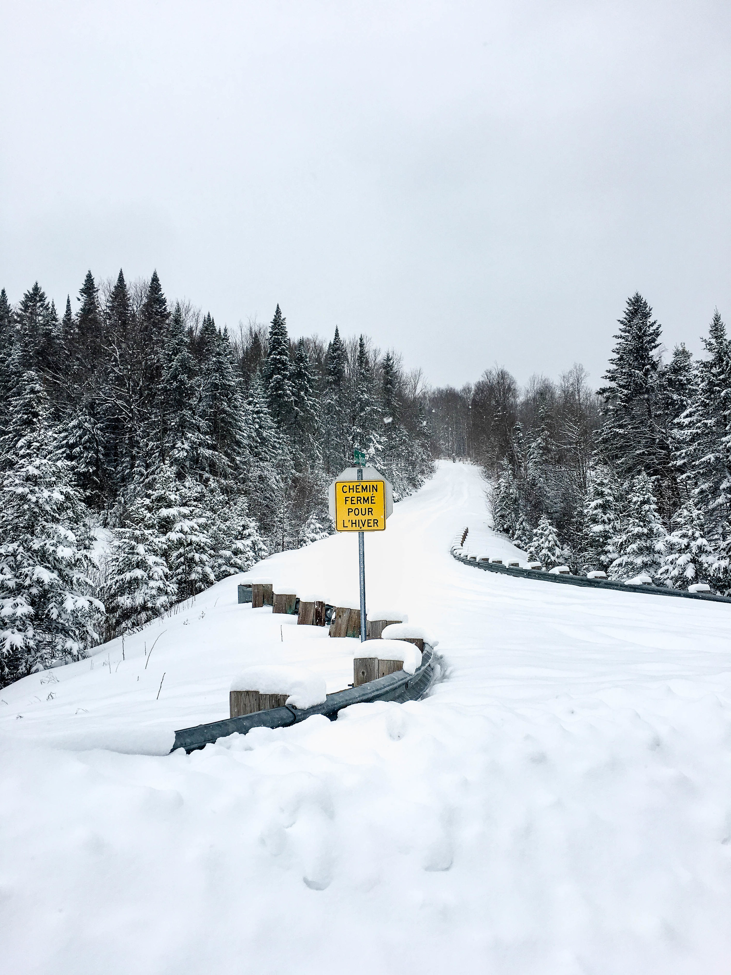 Walk in the mountains in Coaticook. There is are evergreens with a lot of snow and a yellow sign