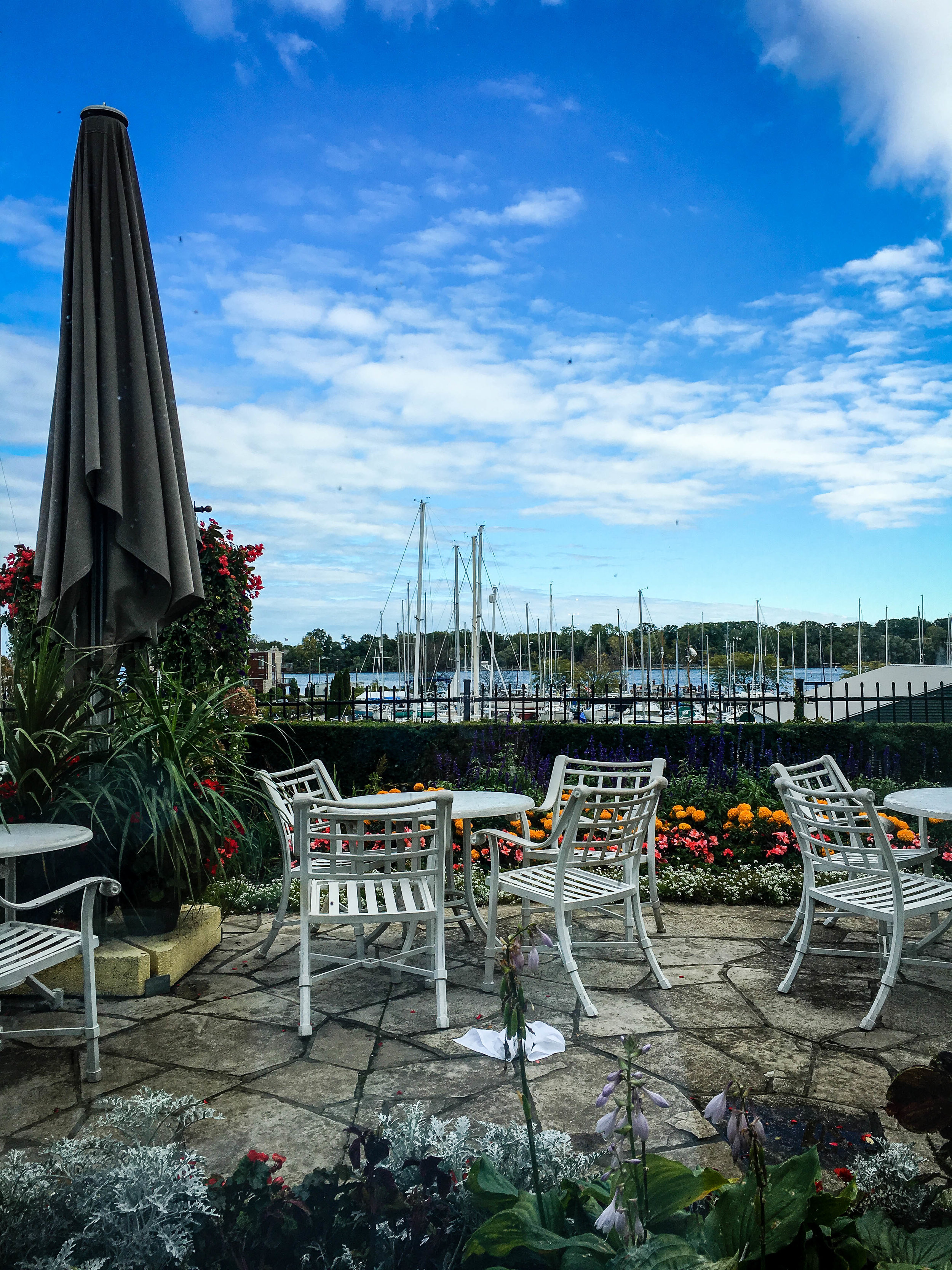 Niagara on the Lake marina view from the Tiara's restaurant terrace