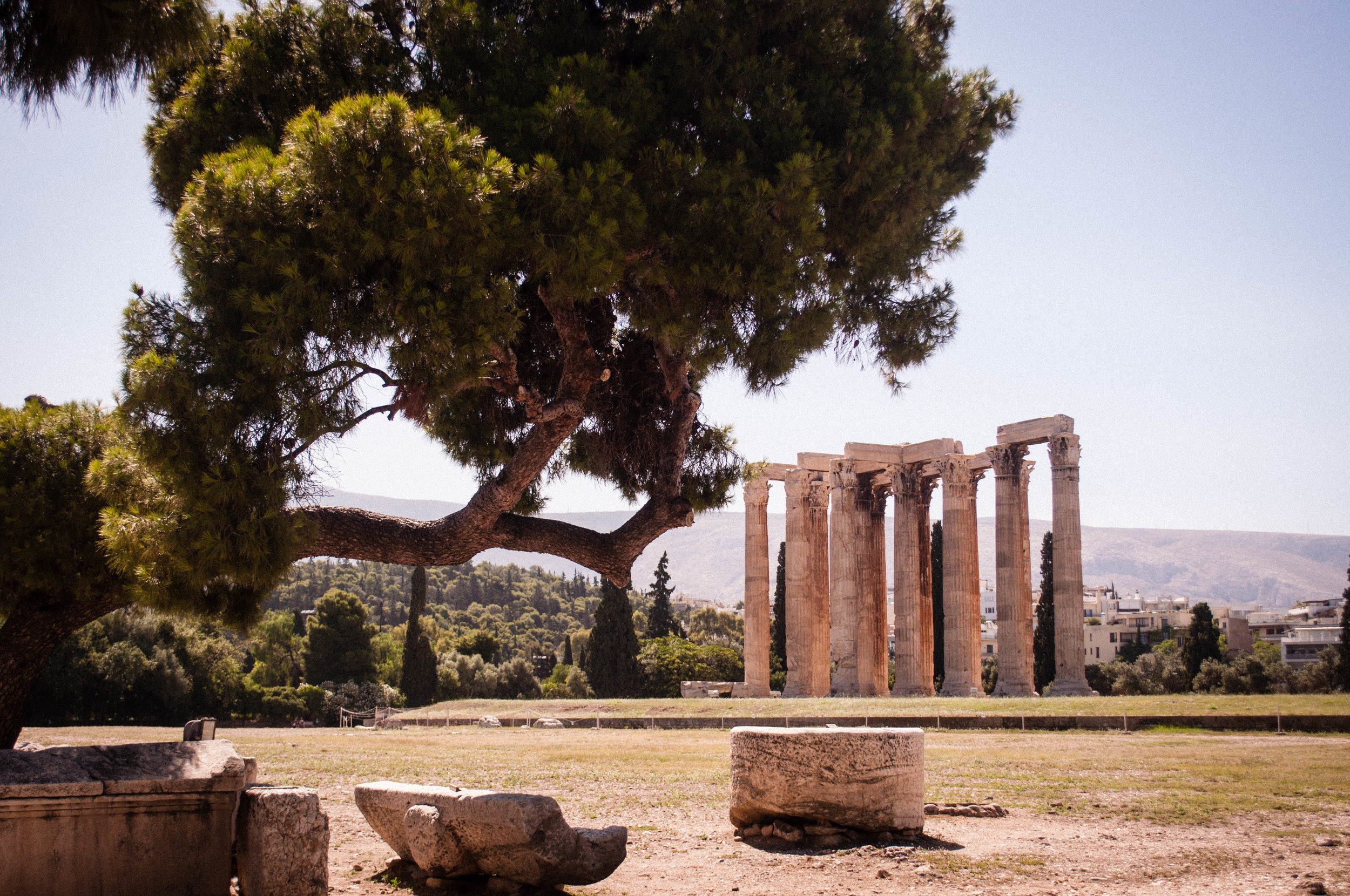 Ancient Greek Ruin in Athens with a tree on the foreground
