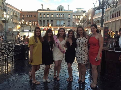 Group of female friends celebrating a bachelorette party in Las Vegas