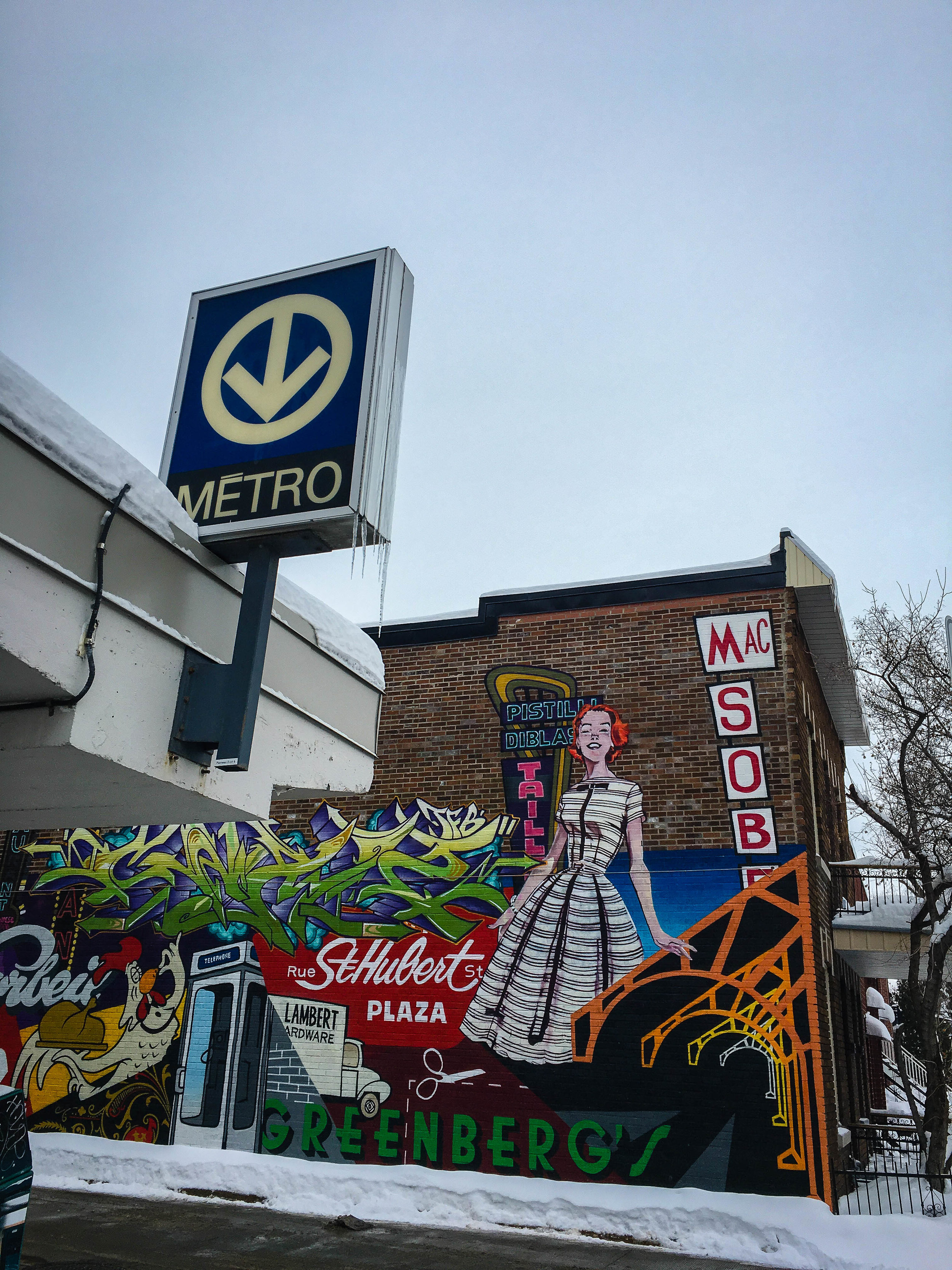 Graffiti at the exit of the Beaubien Metro with retro and vintage elements. Graffiti proposed as the best street art in Montreal