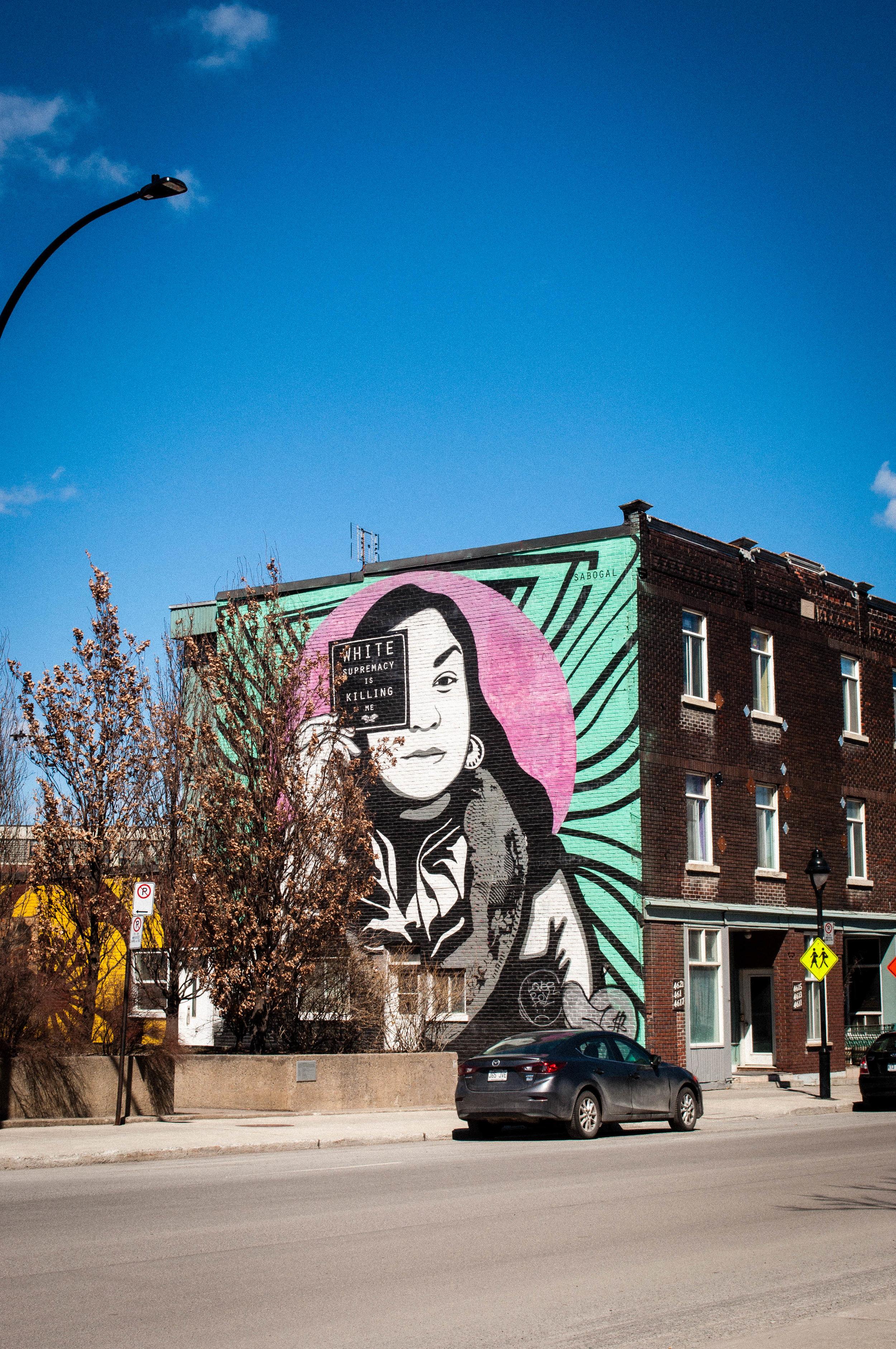 Graffiti in Saint-Henri by a Native American Artist. Graffiti proposed as the best street art in Montreal