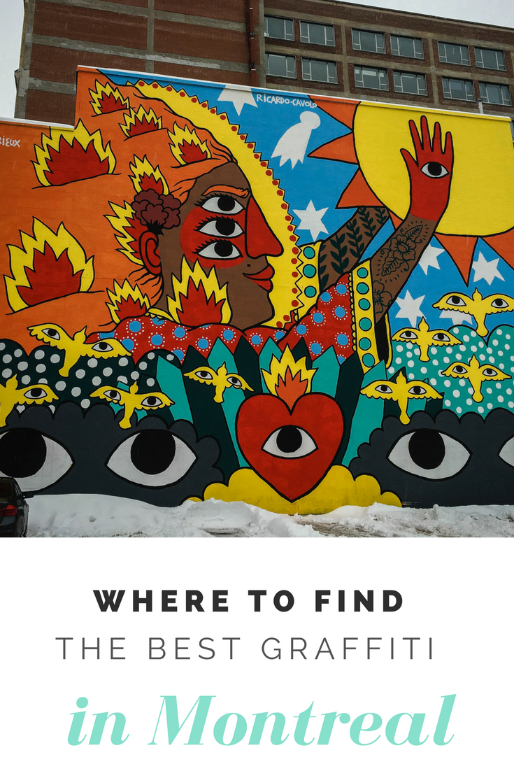 Image optimized for Pinterest for the blog post Where to find the best street art in Montreal