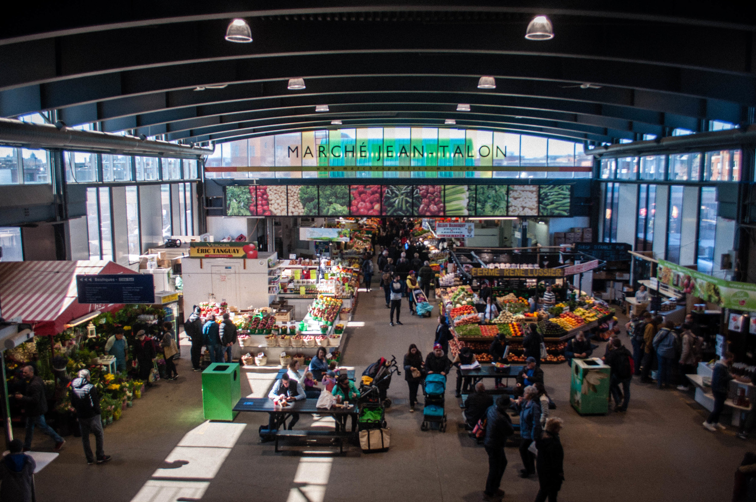 View from the top of the Jean Talon marche. Start of the Food tour in the Jean Talon Market