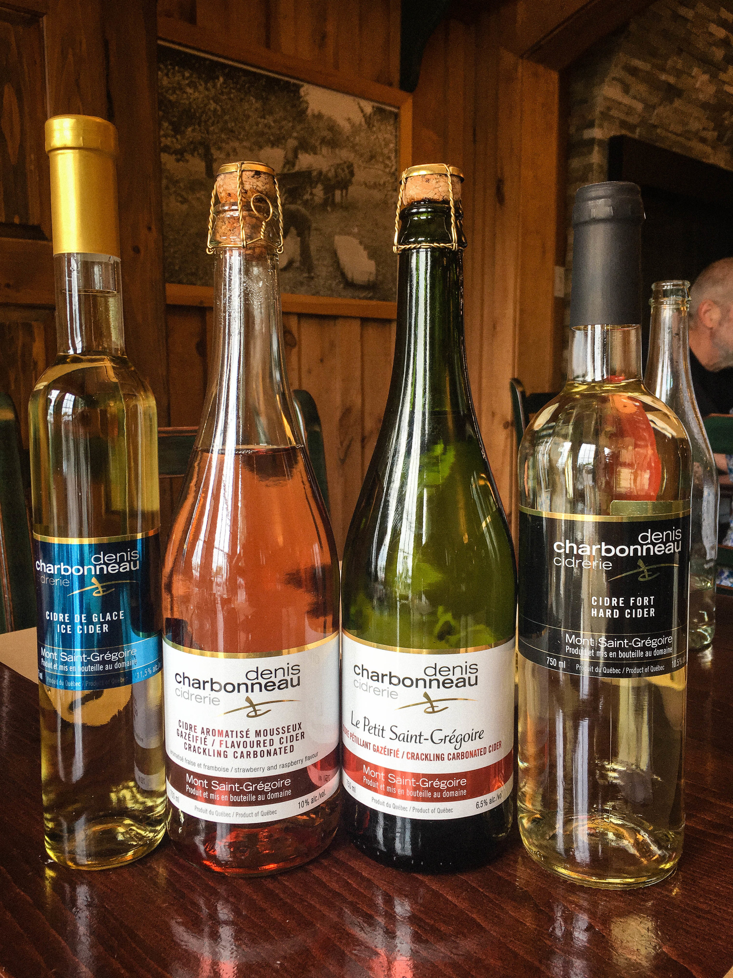 The different ciders offered at Denis Charbonneau