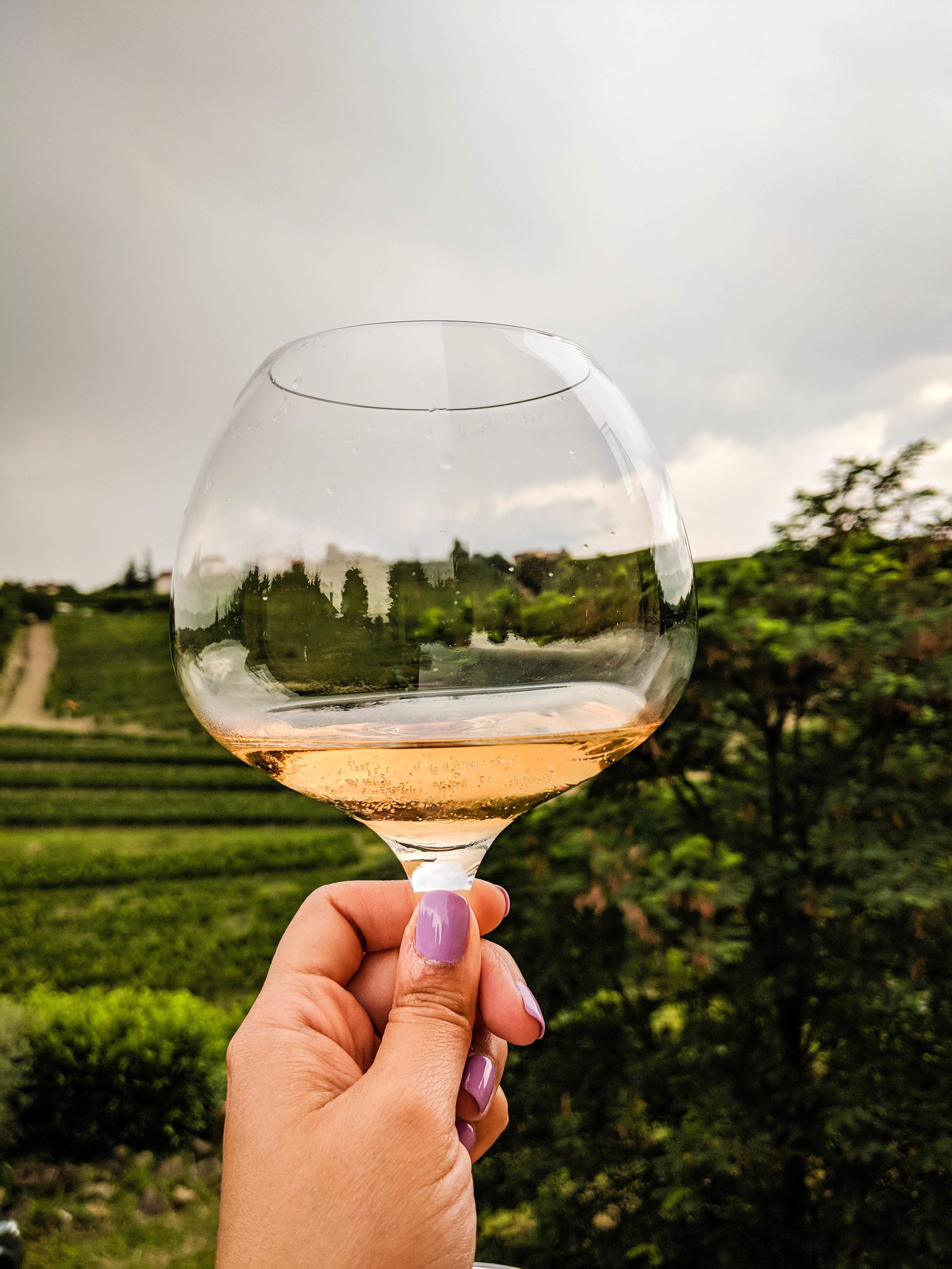 Orange wine of Kabaj Winery, located in Brda, Slovenia wine region