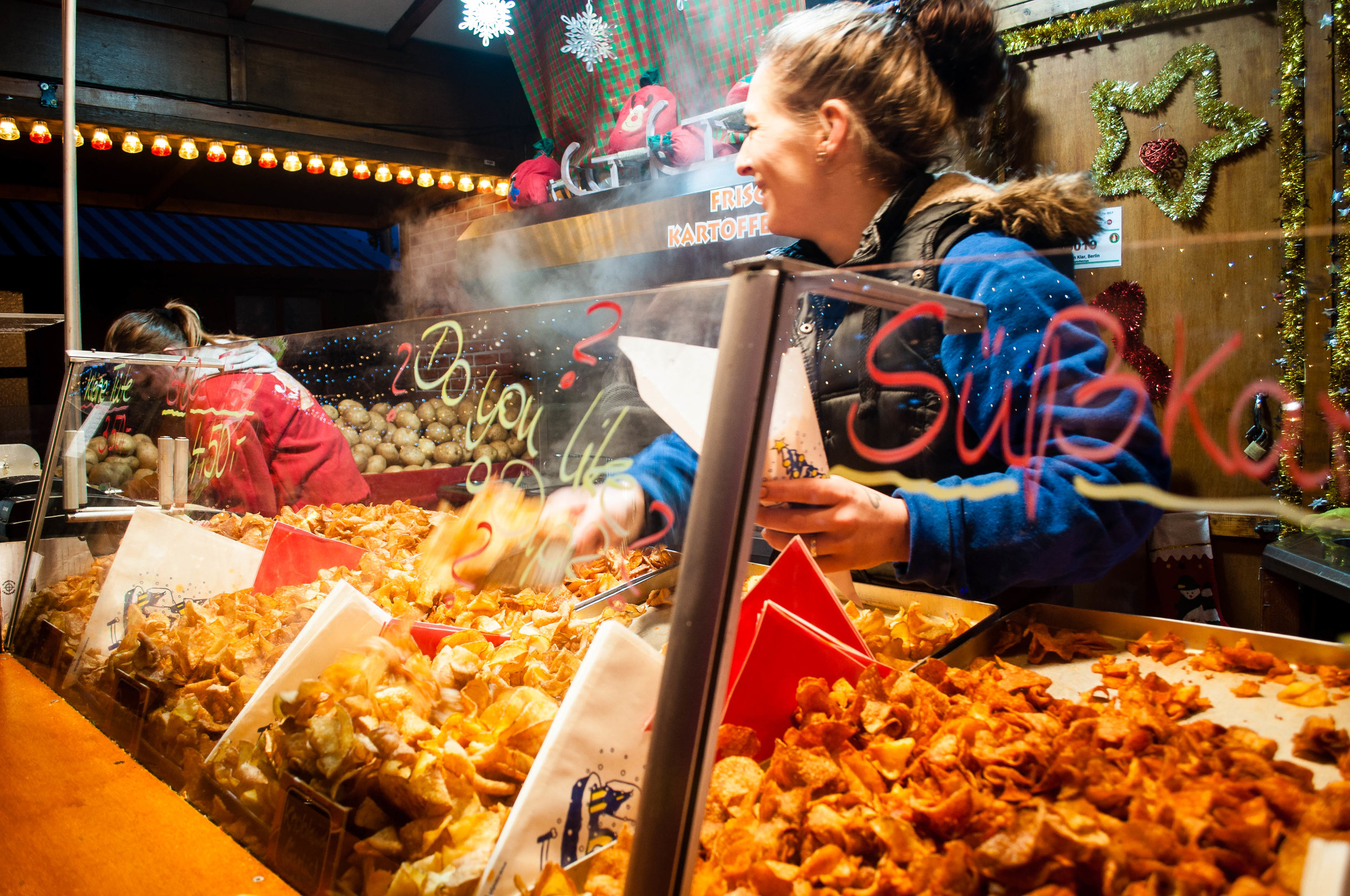 fries potatoes food in German Christmas markets - How to plan your trip to the German Christmas Markets