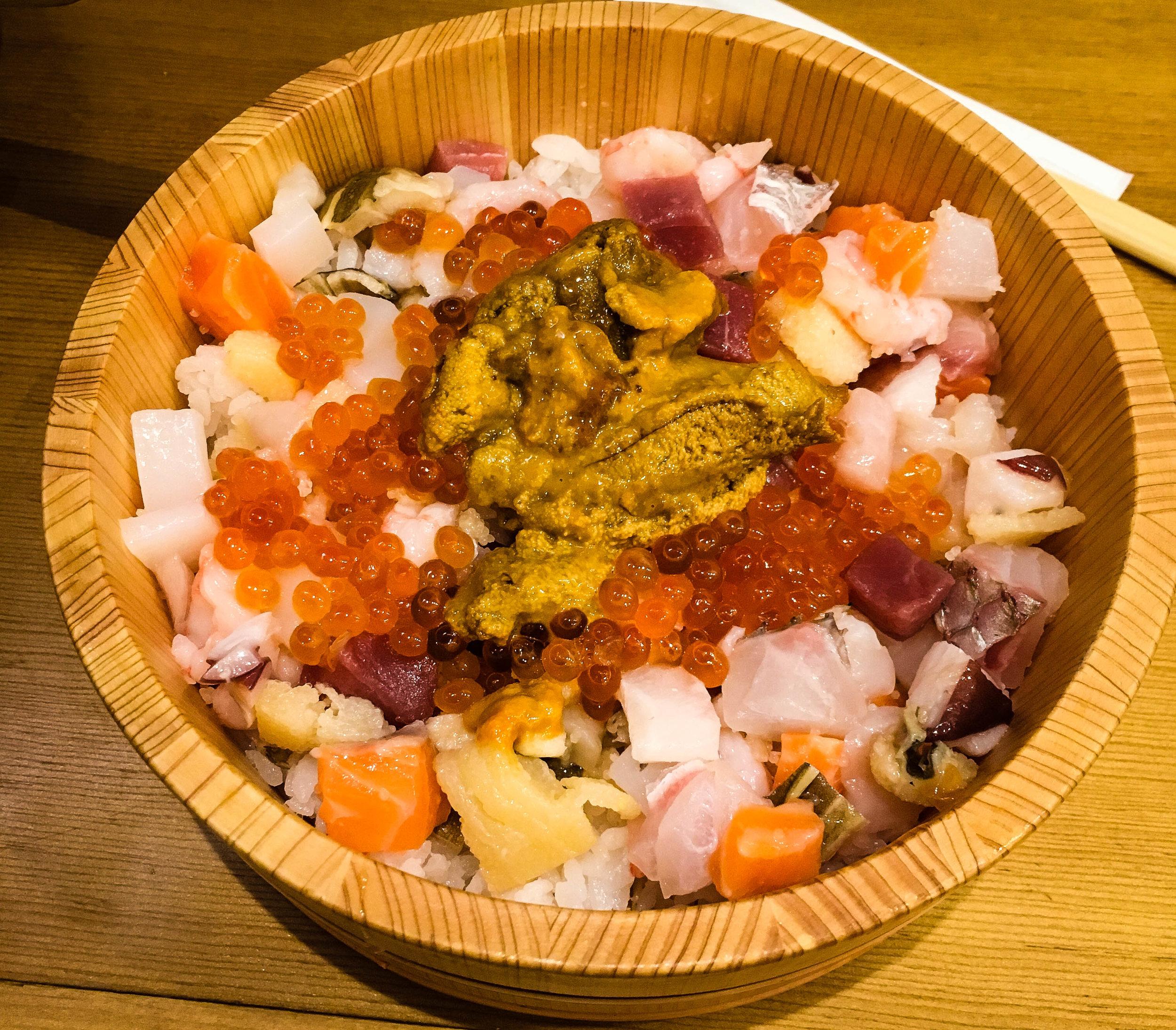Breakfast at Tsukiji fish market. Part of Tokyo itinerary 7 days