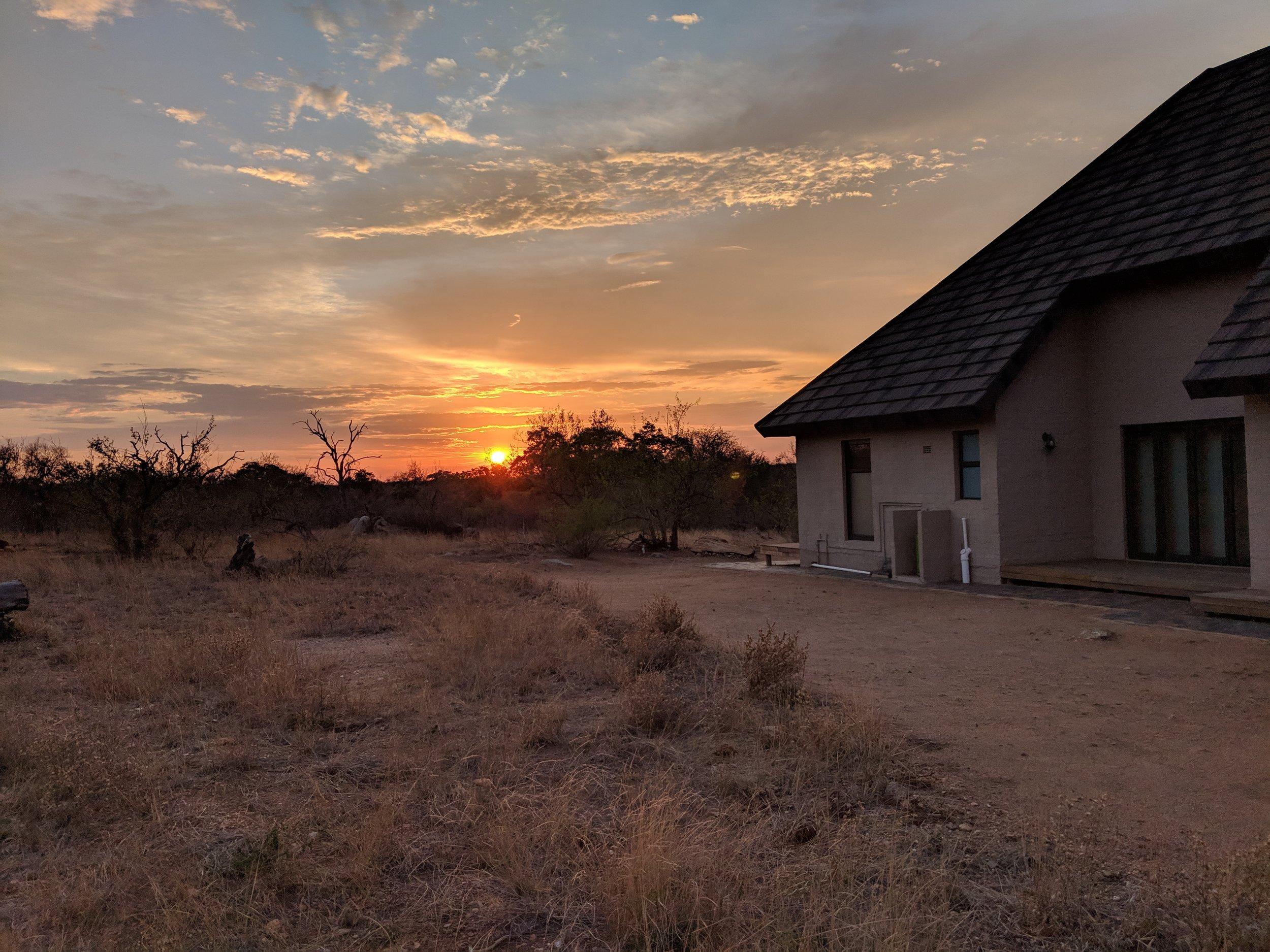 Sunset at a safari private lodge. safari planner