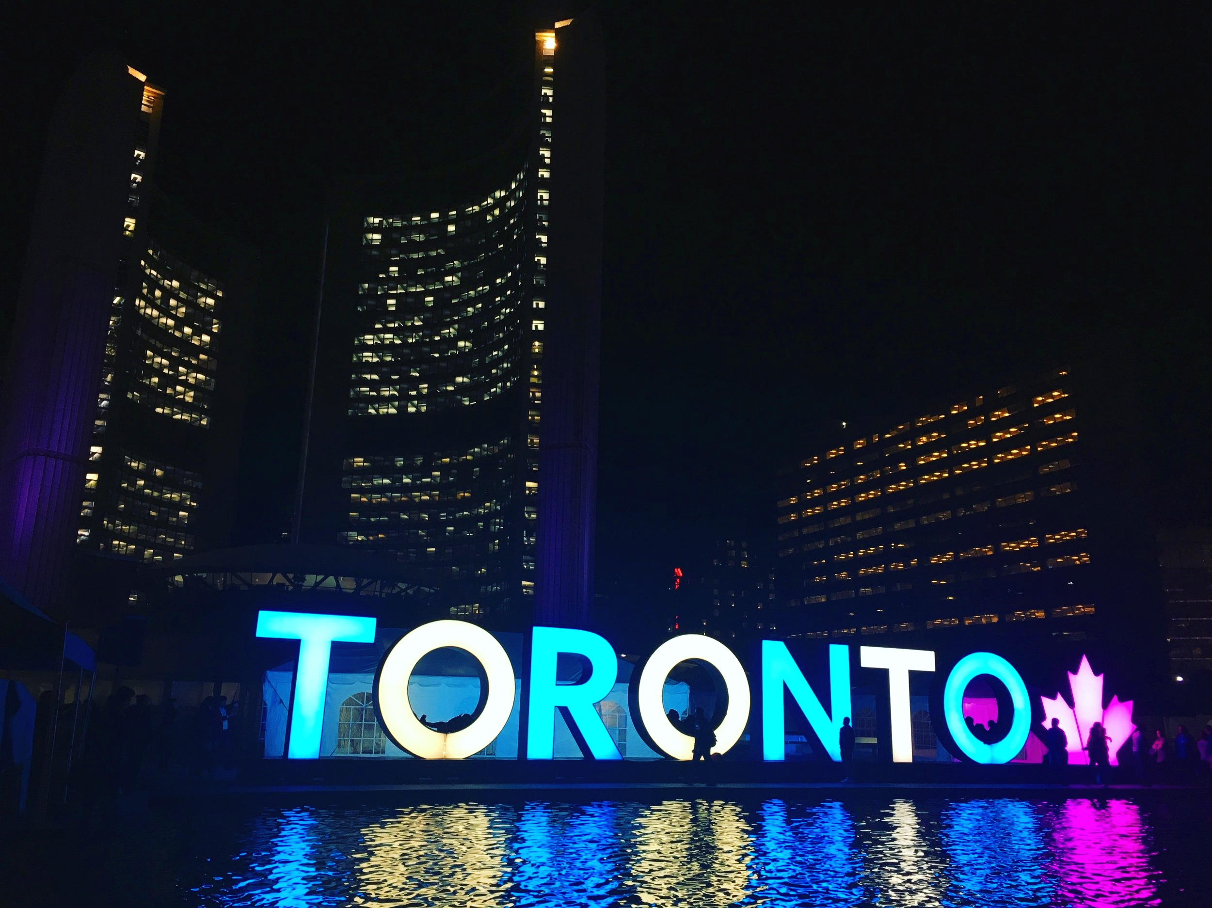 Toronto colourful sign at night - trips from Montreal