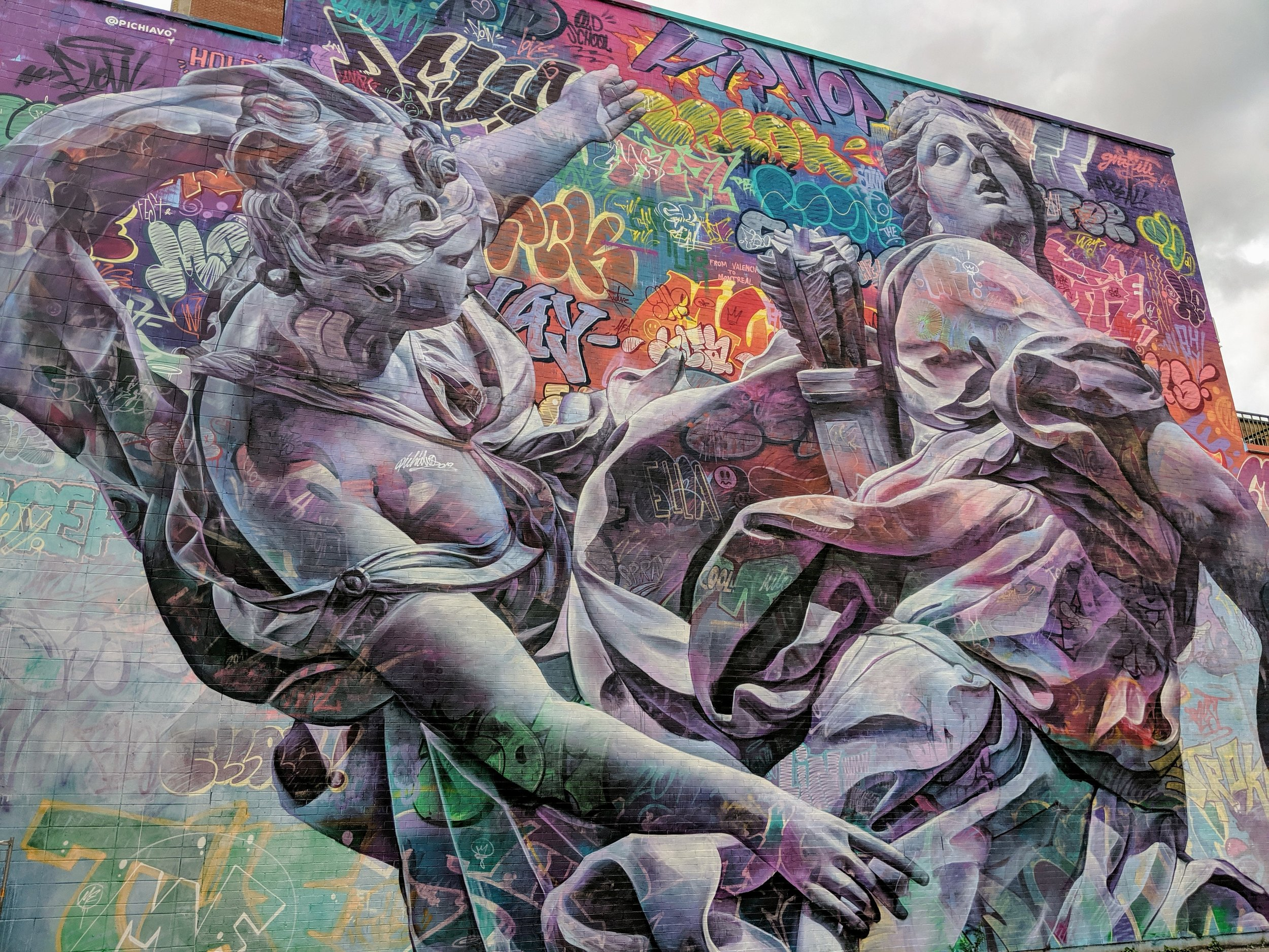 Street art in Montreal portraying 2 angels