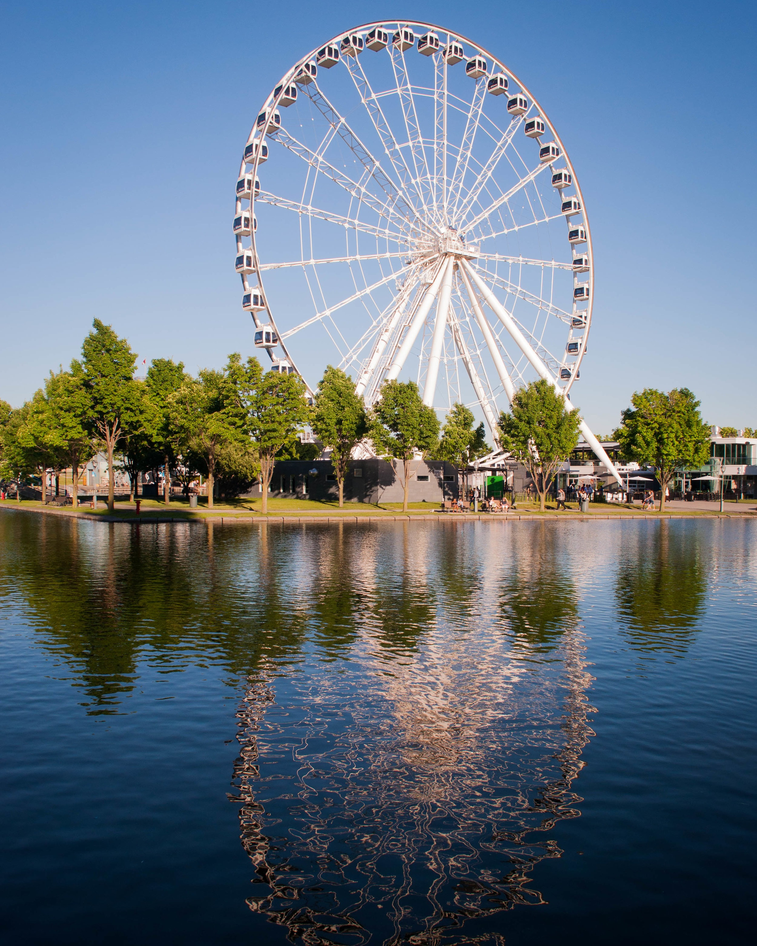 Grande Roue Montreal(vieux port), reflected in lake. Top 7 things to do in Montreal THIS Summer