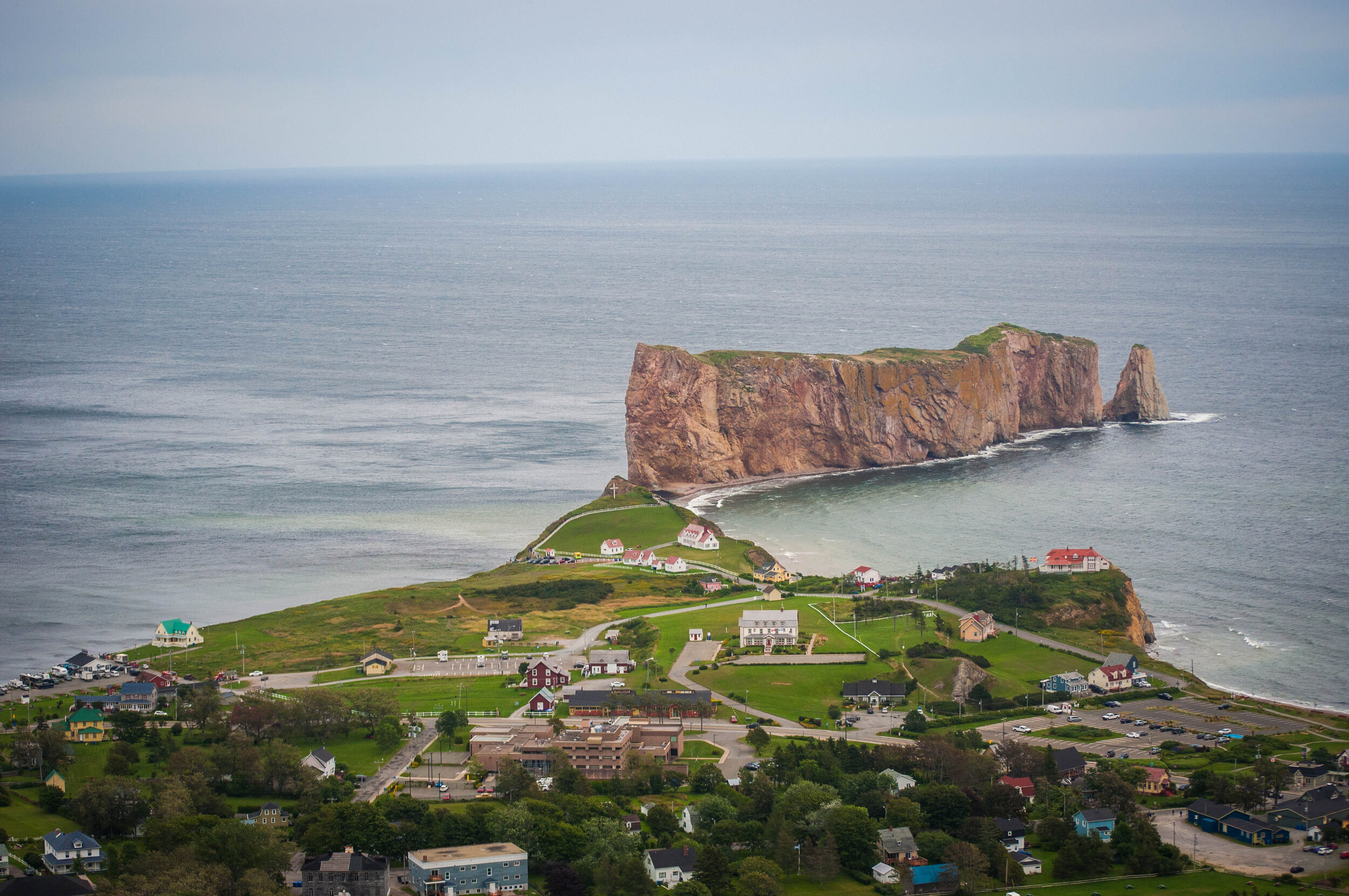 Views of Perce from the top. one of the stops in our Road trip in Gaspésie