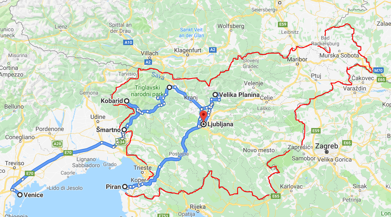 Map of the perfect Slovenia road trip