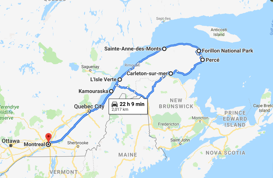 Map for a road trip in Gaspesie