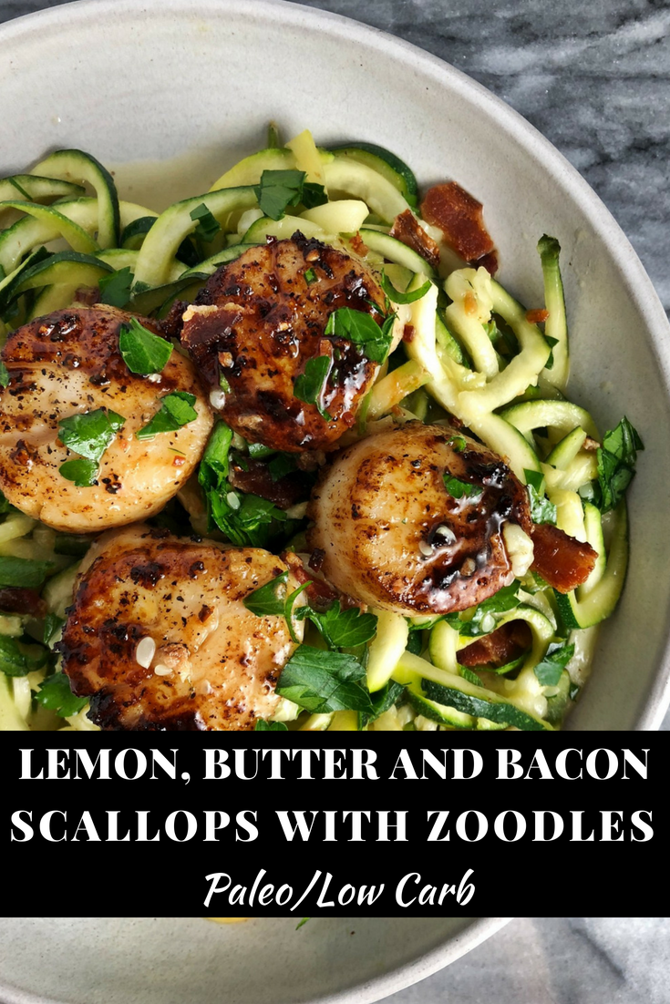 Lemon, butter and bacon scallops with zoodles are a perfect low carb date night dinner. Paleo friendly and packed with flavor this dinner is easy to make, but will impress any dinner guest.
