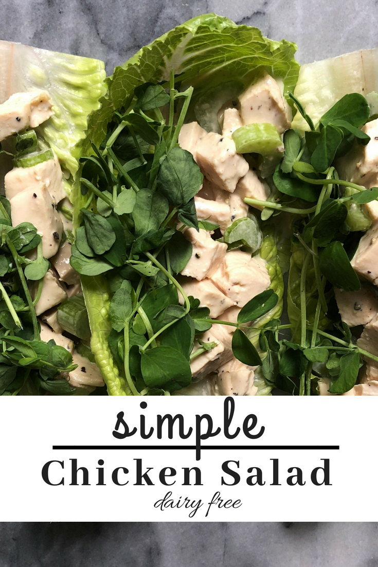 Simple chicken salad made with avocado oil mayo and only 7 simple ingredients.