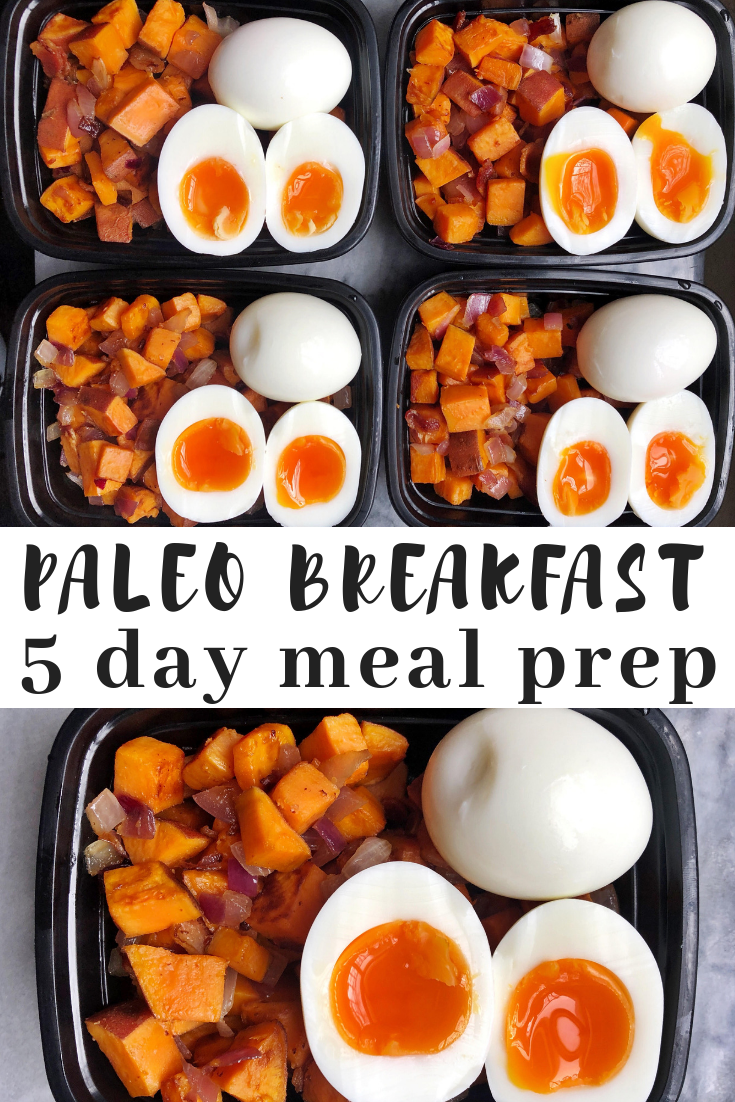 Paleo breakfast meal prep. A make ahead breakfast that you can prep on Sunday and have a paleo breakfast every day of the work week. Make ahead paleo breakfast made with sweet potatoes, bacon, red onion and eggs.