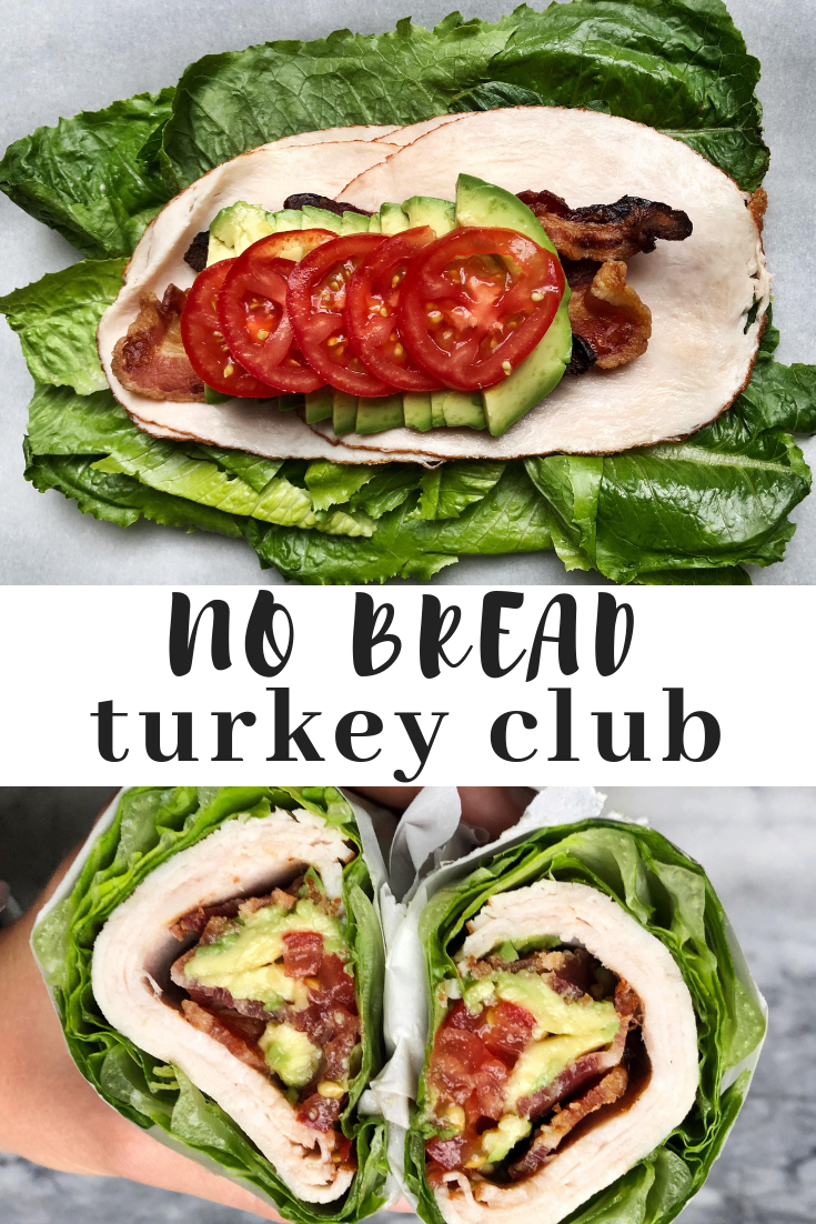 No bread turkey club sandwich wrapped in romaine lettuce. A low carb, paleo and keto friendly lunch option. Perfect for lunch meal prep. Low carb, high fat lunch that you can make ahead.