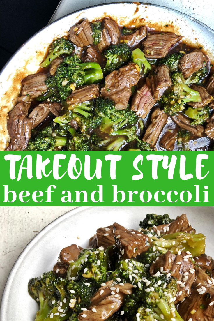 Takeout style beef and broccoli without all the takeout ingredients! This is super satisfying one pan meal comes together in 15 minutes!