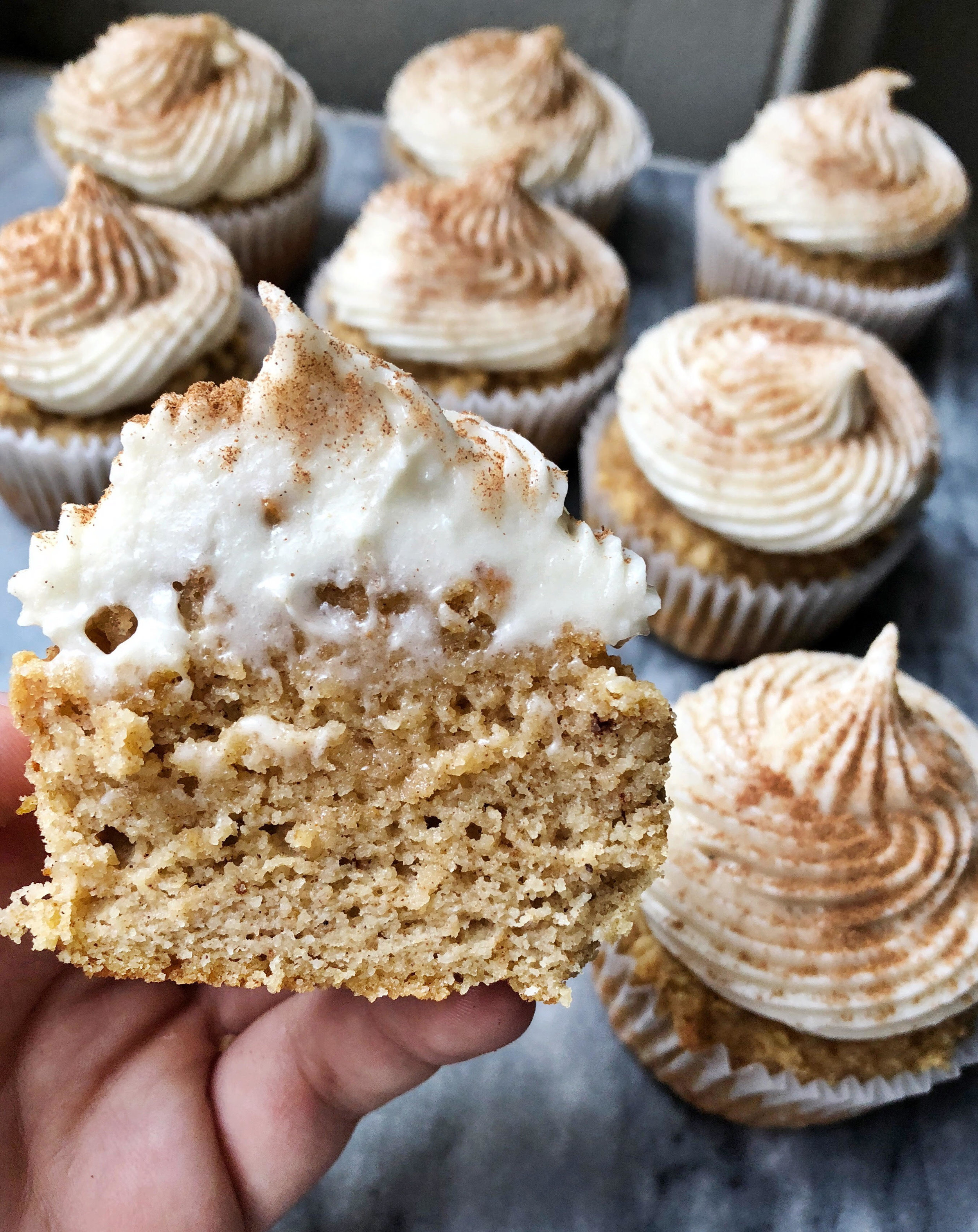 Grain Free Pumpkin Spice Cupcakes with Maple Cream Cheese Frosting are like a perfect little bite of fall. If you are looking for a Halloween, Thanksgiving or simply fall themed treat, you cannot go wrong with these delicious little cupcakes.