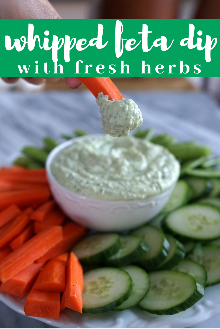 Whipped feta dip with fresh herbs is not your usual veggie dip. It packs lots of flavor and is so creamy and delicious thanks to simple whole ingredients like Greek yogurt. Throw this feta dip together in 15 minutes for your next party.