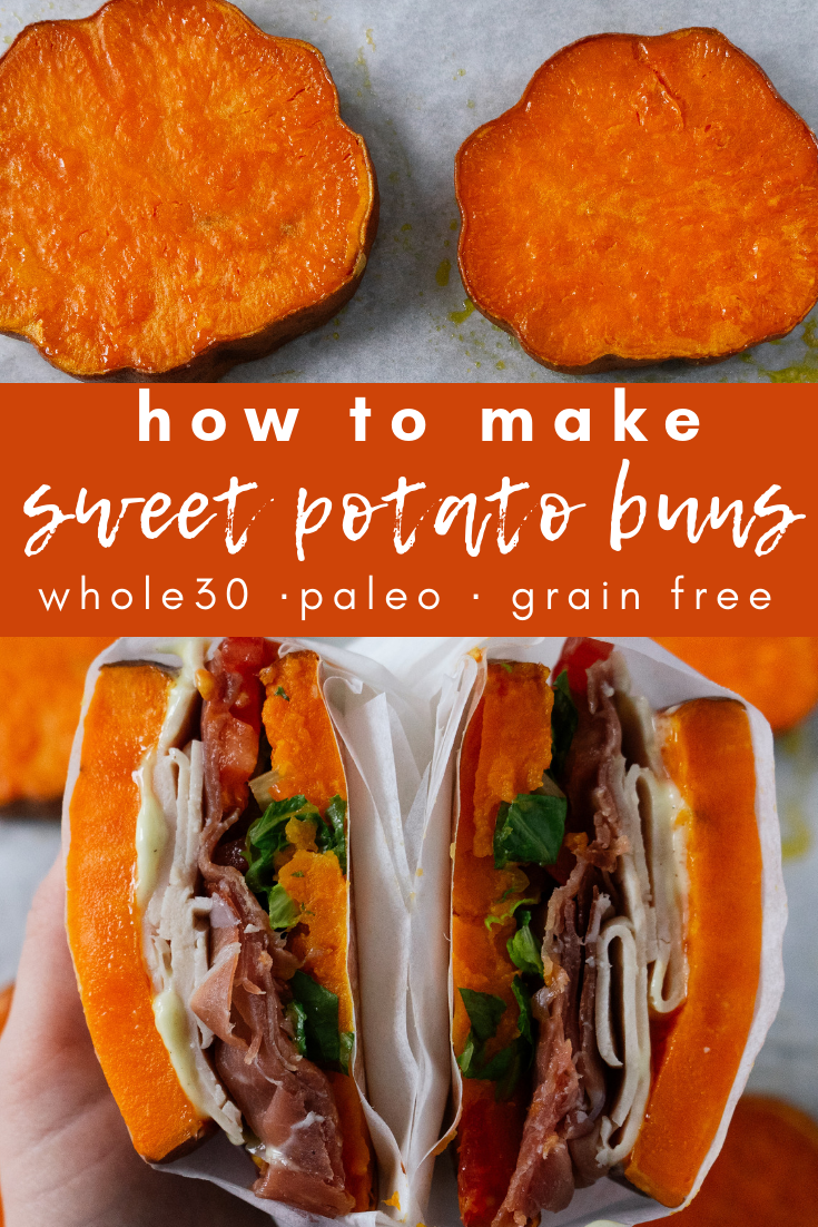 Sweet potato buns are super easy to make and make for a delicious alternative to the standard bun or lettuce wrap when you are going through a whole30, are eating grain free or are doing a paleo diet. Sweet potato buns are perfect for sandwiches and burgers of all kinds!