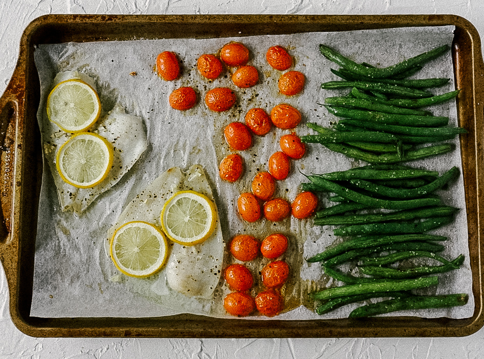 Sheet pan flounder and veggies make a quick and easy weeknight dinner, whole30 meal or paleo meal prep.