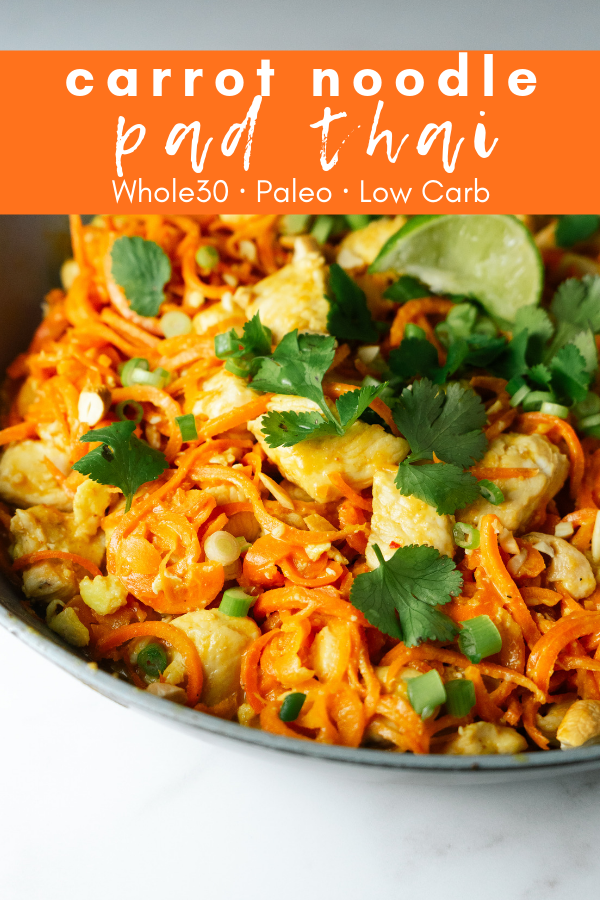 Carrot noodle pad Thai is a delicious alternative to the standard pad Thai that is made with spiralized carrot noodles and is paleo and Whole30 compliant. The peanut sauce is swapped for a tasty cashew sauce and makes for a dish that is big on flavor, but light on carbs.