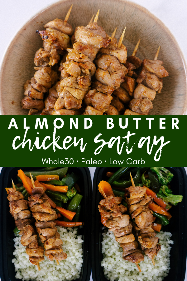 Almond butter chicken satay is a flavorful chicken skewer that is whole30 and paleo friendly. This simple chicken recipe is perfect for meal prep or a party appetizer.