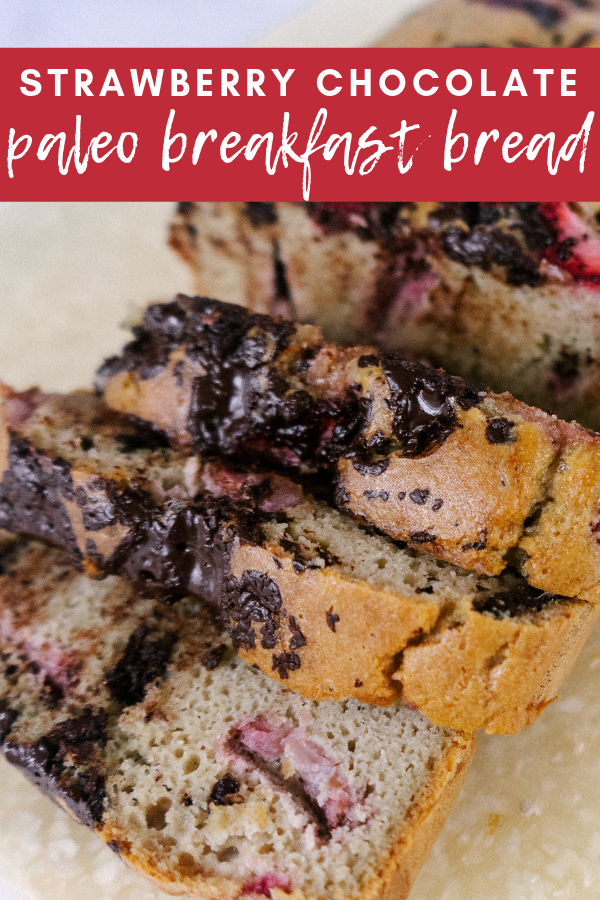 Strawberry Chocolate Paleo Breakfast Bread is a delicious, grain free, low sugar alternative to banana bread that is delicious with a cup of coffee in the morning or tea in the afternoon