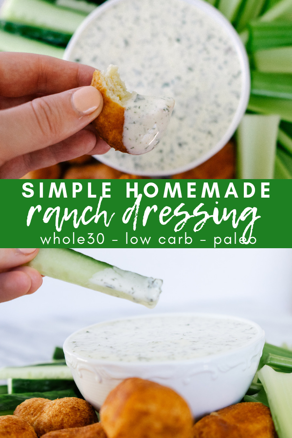 Simple homemade ranch dressing made with basic ingredients is whole30 and paleo friendly. It is dairy free and tastes even better than the real thing. Best part is it comes together in less than 10 minutes.
