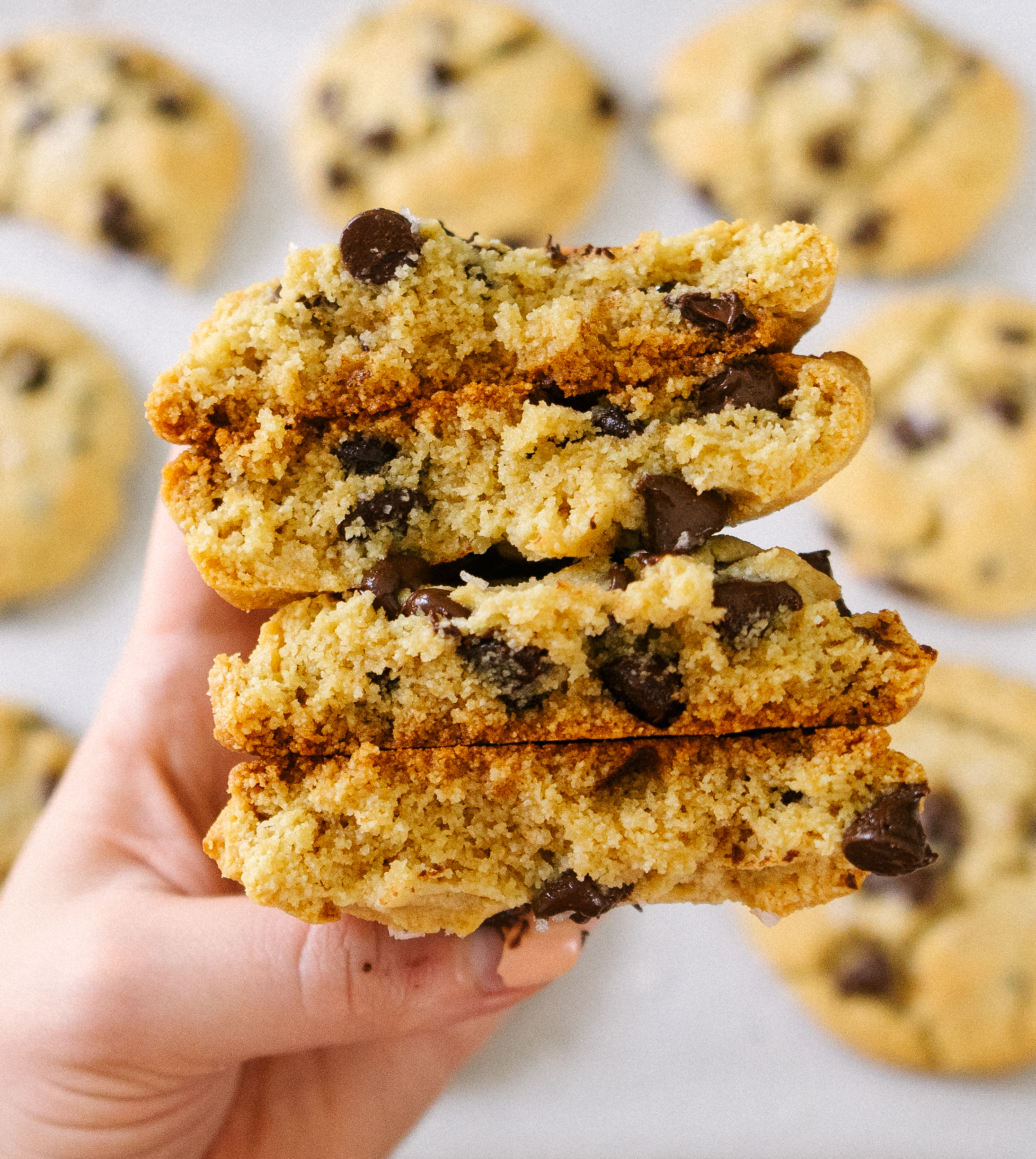 These Grain free chewy chocolate chip cookies are hands down the best gluten free, chewy cookie. Make a sweet and salt batch in less than 30 minutes.