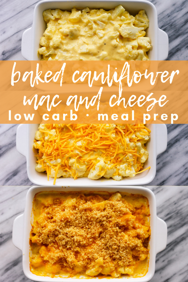 Baked Cauliflower mac and cheese is a delicious, satisfying alternative to standard mac and cheese if you are following a low carb or keto diet. Whip it up for a simple weeknight dinner or add baked cauliflower mac and cheese to your low carb meal prep for the week ahead.