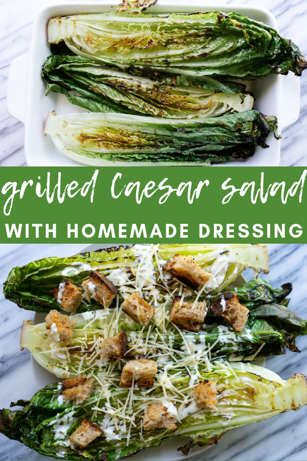 Grilled Caesar salad with a homemade caesar dressing is just like the grilled caesar that you remember from  a steak house, but comes together in your own backyard. This caesar is made with a few simple ingredients and the creamy homemade dressing is amazing. Add this simple, fresh side dish to your next barbecue or romantic dinner.