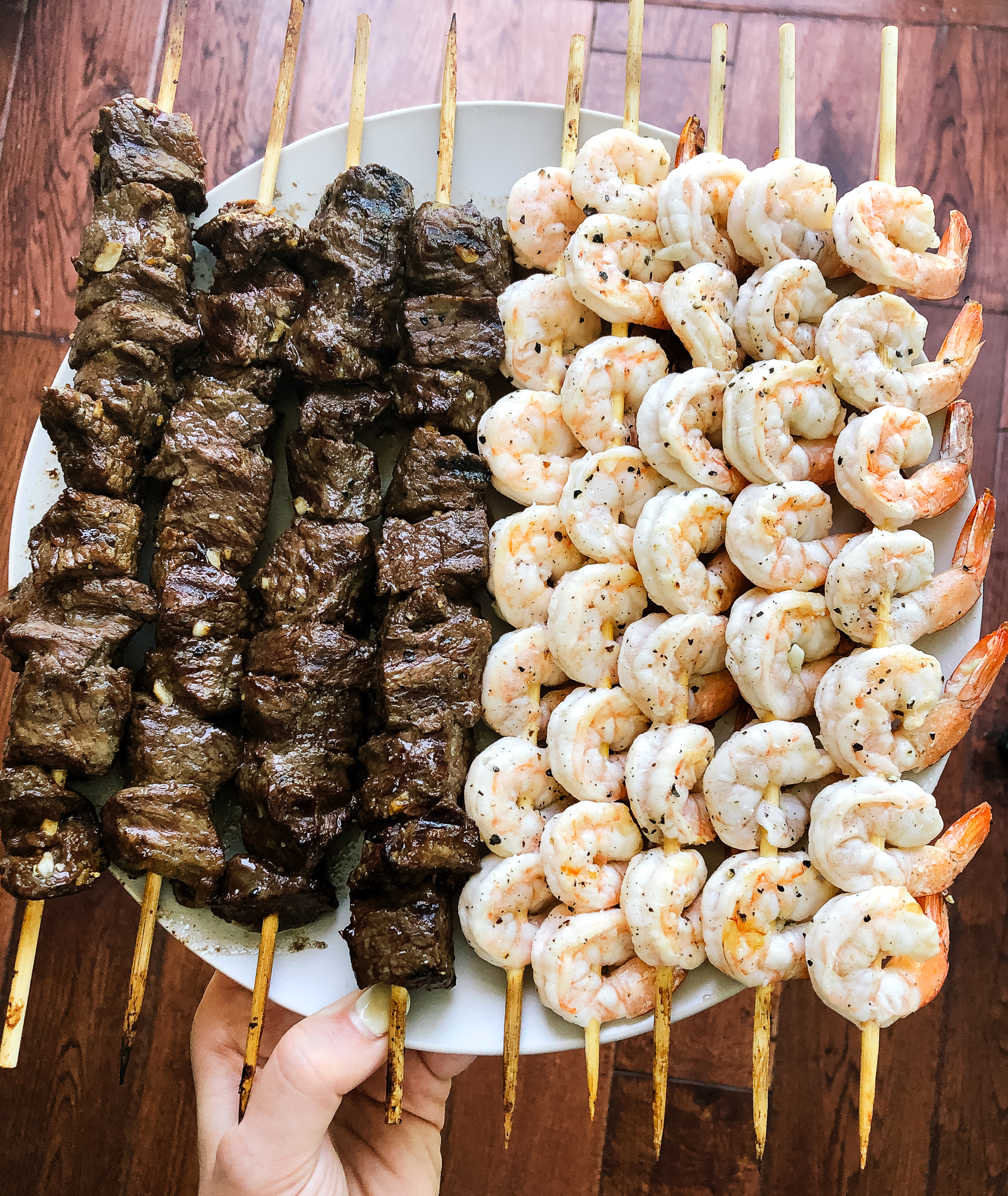 These grilled surf and turf skewers will surely take your summer family barbecues up a notch. They are whole30 friendly, low carb and so easy to throw together and get on the grill in less than 20 minutes