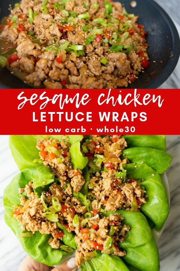 Sesame chicken lettuce wraps are a flavor packed whole30 and paleo meal that comes together in less than 30 minutes. Made with simple and healthy ingredients, these lettuce wraps can be prepped ahead of time or made quickly for a healthy and satisfying weeknight dinner.