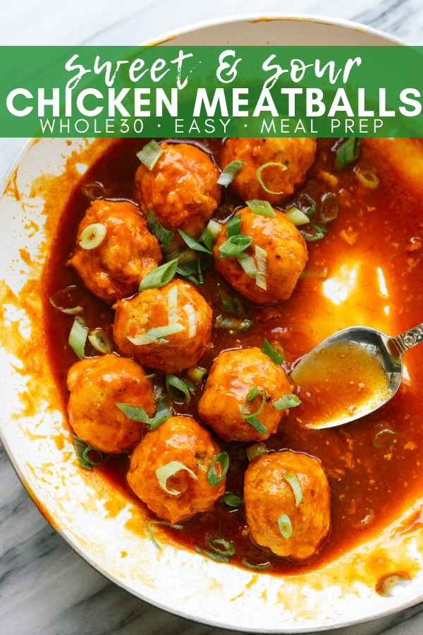 Sweet and sour chicken meatballs are a delicious and easy meal that can be made for dinner for your kids or as a weekly meal prep item. This recipe is whole30 and paleo freindly which makes it low in sugar, but still bursting with flavor.