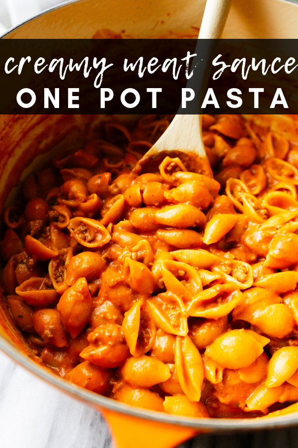 Creamy meat sauce one pot pasta is a quick and delicious meal that you can make with just one pot and a few simple ingredients. This cozy, comfort food comes together in less than 30 minutes. Feed your family this simple one pot pasta that everyone will enjoy.
