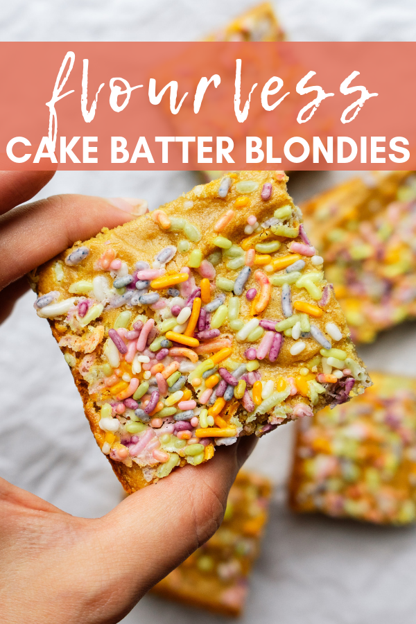 Flourless cake batter blondies are a sweet and festive paleo treat. These blondies are easy to make and their gooey texture is  filled with cake batter flavor. Make this easy and healthy treat and delight kids and adults!