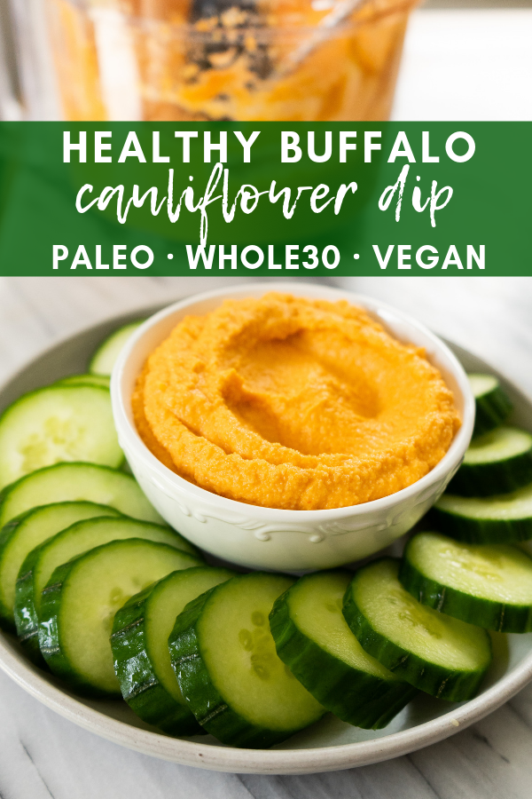 Healthy buffalo cauliflower dip is the perfect party appetizer or football tailgating snack. This healthy dip is whole30, vegan and paleo. This simple and delicious snack is made with just 6 simple ingredients and will delight a crowd.