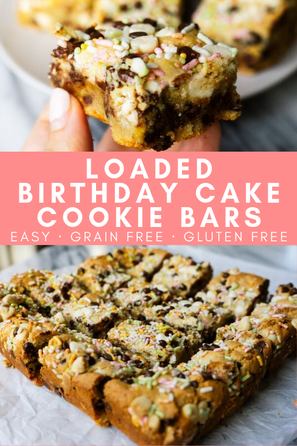 These loaded birthday cake cookie bars are the perfect sweet and delicious birthday treat! Made with almond flour these easy to make gluten free cookie bars are packed with toppings and give you all of the chewy, gooey texture that you look for in a cookie cake.