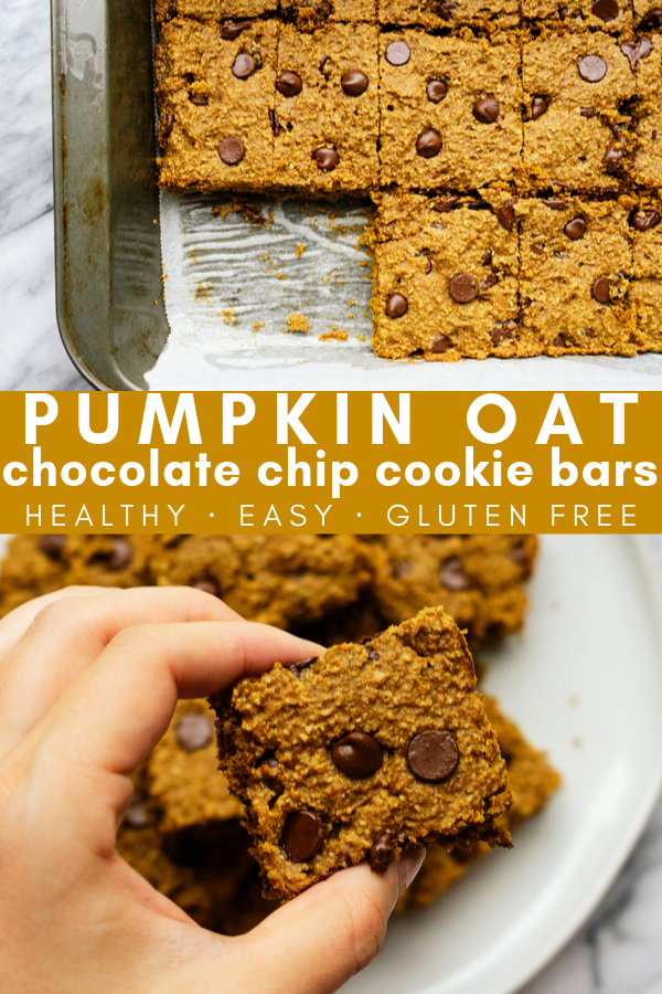 Celebrate all of the delicious flavors of fall with these pumpkin oat chocolate chip cookie bars. They are thick, moist, delicious and filled with pumpkin spice flavor. These simple, gluten free cookie bars are easy to make and healthy!